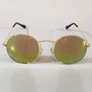 Other - Gold/Green Mirror Lens Retro Circle Sunglasses